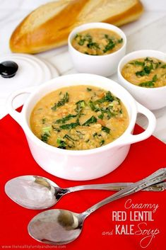 Clean Eating Creamy Red Lentil and Kale Soup...ready in less than 30 minutes and it's vegan, gluten-free and dairy-free   The Healthy Family and Home   #vegan #glutenfree #cleaneating #soup #meatlessmonday