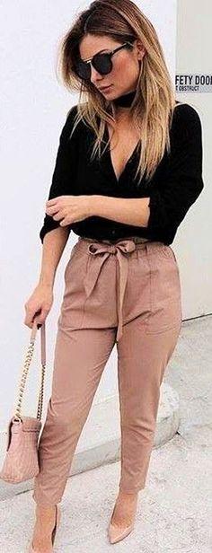 #fall #executive #peonies #outfits   Black Shirt   Tan Work Up Pants