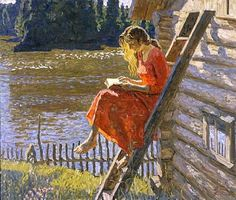 Alexei and Sergei Tkachev . Summer, Oil on canvas, h: 120 x w: 140 cm … Alexei and Sergei Tkachev . Summer, Oil on canvas, h: 120 x w: 140 cm / h: x w: in Reading Art, Woman Reading, Reading People, Reading Books, Good Books, Books To Read, Double Exposition, World Of Books, Russian Art