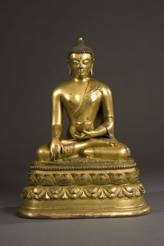 6. Bhaisajyaguru   Zanabazar School. Mongolia  Circa 17th - 18th century  Gilt Copper  8 1/8 in.