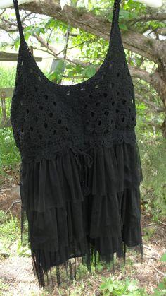 Gypsy boho crochet and tulle bohemian black Plus by SummersBreeze, $29.99