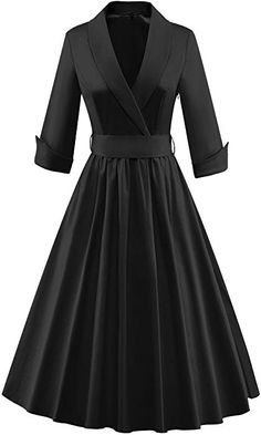 - tecrio women vintage classy sleeve rockabilly solid trench coat spring dress source by da_ni Vintage Outfits, Vintage Dresses, Vintage Fashion, Vintage Inspired Dresses, Black Women Fashion, Look Fashion, Womens Fashion, Classy Dress, Maxi Dresses