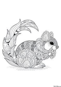 Free printable Fall Coloring Pages eBook for use in your classroom or home from PrimaryGames. Print and color this Zentangle Squirrel coloring page. Fall Coloring Pages, Free Adult Coloring Pages, Animal Coloring Pages, Coloring Sheets, Coloring Books, Mandalas Drawing, Squirrel Coloring Page, Zentangle Patterns