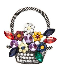 Take a look at this Rhinestone & Silvertone Flower Basket Brooch today!