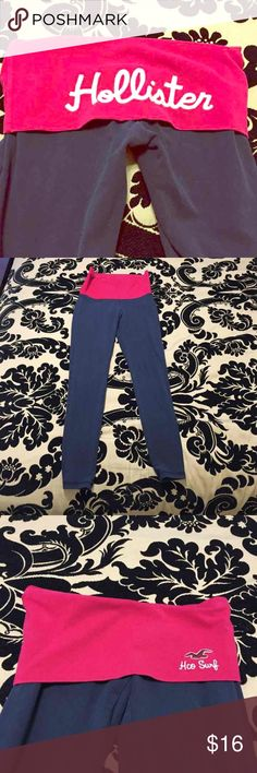 Hollister fold over leggings XS Amazing condition. Worn a couple of times,, mostly to bed. The leggings fold over and shows the words Hollister on the back of you booty! Super cute and I have another pair listed which are all blue with the word Hollister in white. Open to offers! Hollister Pants Leggings