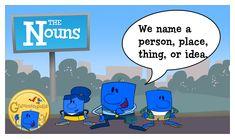 The Noun Neighborhood, featuring Nelson the noun. A noun names a person, place, thing, or idea!