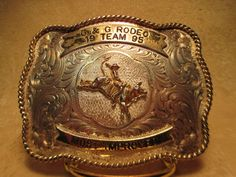 BIG 1995 G&G TROPHY RODEO BULL RIDER Montana Silversmiths BELT BUCKLE MAKE OFFER