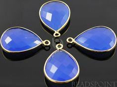 Blue Chalcedony Bezel Pear Shape Chalcedony by Beadspoint on Etsy, $8.99