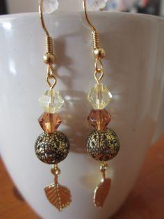 Amber/Light Yellow Czech. Crystal Earrings by BeadazzlingButterfly, $15.00
