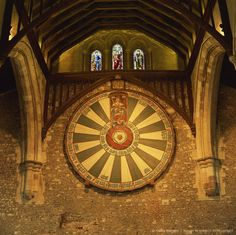 King Arthur's Round Table mounted on wall of Castle Hall, Winchester, England