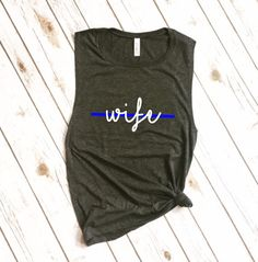 Blue line wife muscle shirt for working out #commissionlink