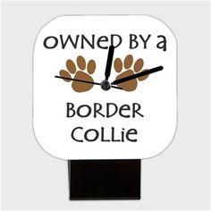 Köpekli - Owned By a Border Collie Kendin Tasarla - Kare Masa Saati