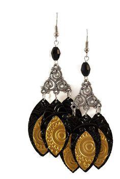 Boucles d'oreilles légères en aluminium et métal argenté - Trois plumes noires et dorées