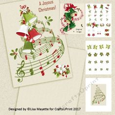 Vintage Style Christmas Bells & Tree Musical Floral Card Decoupage Mini Kit by Lisa Mayette A modern remake of a vintage classic, this 5x7…