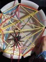 spider web made by wrapping yarn around a paper plate