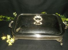 $12.96 Vintage Marinex 8x11 Casserole Dish Silver Plate Covered Stand Lid Butler Tray #marinex