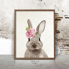 Rabbit Print Nursery Wall Art Woodland Decor by AMELIEVintageCo