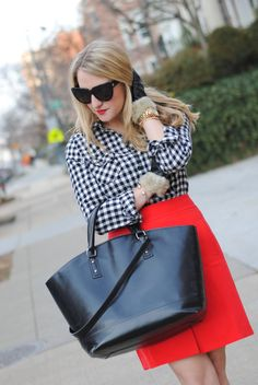 Red pencil skirt + Collar gingham shirt (black and white checkered). Black leather bag