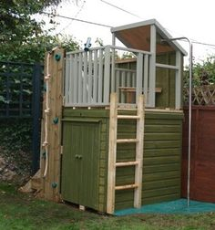 Plan for club house with tool storage shed underneath for Storage shed playhouse combo plans