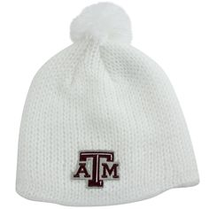 adidas Texas A&M Aggies Women's Fluffy Pompom Knit Hat - White