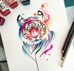 Pin By Jacia Wetzel On Art Watercolor Tiger, Tiger - Watercolor Tiger Tattoo Tatoo Tiger, Tiger Tattoo Design, Tiger Design, Tattoo Designs, Tattoo Ideas, Tiger Drawing, Tiger Art, Painting & Drawing, Tiger Painting