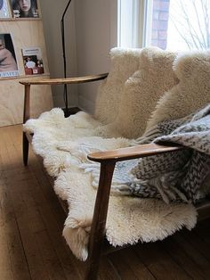 nice close-up photo for promo materials - shows another function for a sheepskin rug. being shown more frequently in design blogs.