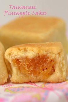 "Taiwan Pineapple Cakes. Filling: crushed pineapple, cinnamon, corn syrup. Shortcrust pastry dough: butter, confectioners sugar, vanilla, egg yolks, flour, corn starch. ""Taiwanese pineapple cakes are really more like a cookie, but they are usually referred to as cakes."""