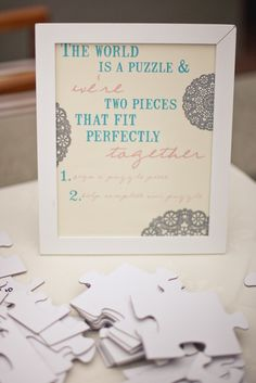 Puzzle Guest book sign Awesome Idea... put it together and frame it.