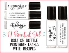 17 Essential Oil Roll-On Bottle Printable Recipe Labels – essential oil roller labels, labels for handmade items, young living - Modern Printable Labels, Printable Recipe, Eyeliner, Roller Bottle Recipes, Essential Oil Spray, Giving Up Smoking, Roll On Bottles, Brand Board, Young Living Essential Oils