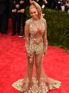 """Image has been digitally processed] Beyonce attends the """"China: Through The Looking Glass"""" Costume Institute Benefit Gala at the Metropolitan Museum of Art on May 2015 in New York City. Destiny's Child, Style Beyonce, Revealing Dresses, Popular Dresses, Red Carpet Dresses, Celebs, Celebrities, Sheer Dress, Hot Actresses"""