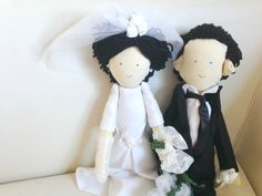 Personalized fabric dolls, Handmade custom doll, Wedding dolls, Wedding couple made by photo, Wedding anniversary gift, Rag doll