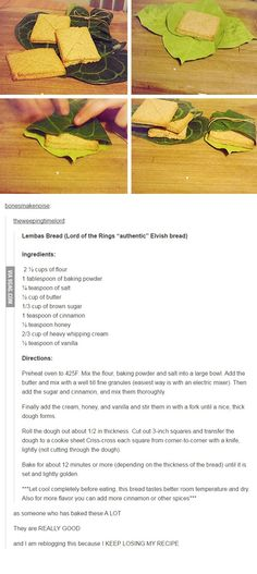 Elvish Lembas bread recipe from Lord of the Rings - LotR Bread Recipes, Cooking Recipes, Healthy Recipes, Cooking Pasta, Cooking Pork, Think Food, Love Food, Lembas Bread, Lord Of The Rings
