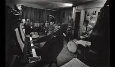 Thelonious Monk and his Town Hall band in rehearsal, Feb 1959, by W Eugene Smith. Taken from The Jazz Loft Project