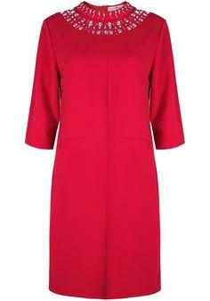 Red Half Sleeve Bead Loose Dress 22.50