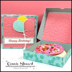 Pizza Style Cookie Box - May 2017 Pizza Style, 3d Paper Crafts, Paper Crafting, Up Balloons, Envelope Punch Board, Cookie Box, Stampin Up Catalog, Altered Boxes, Pillow Box