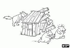 De wolf krijgt het houten huis gesloopt en twee jongere broers vluchten naar het bakstenen huis kleurplaat