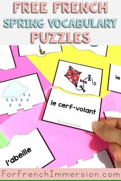 French Spring Vocabulary Puzzles FREE | For French Immersion