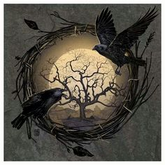 Raven/Crow and the Moon with the Tree of Life or perhaps the Tree of Knowledge