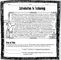 This Introduction to Technology Worksheet was designed for middle school students learning about technology for the first time. Key vocabulary includes technology, obsolete technologies, current technologies, emerging technologies, coexisting technologies, universal systems model, goal, input, processes, output, and feedback. This double-sided worksheet features a helpful content summary at the top which students can refer back to while they're working if they need help.
