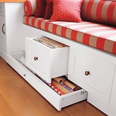 Custom-size drawers make finding hanging files and gift wrap a cinch. Tip: To ensure easy access to items in the back of a deep toekick drawer, put it on wheels or furniture glides, or install full-extension hardware along the sides.