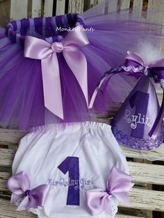 Purple Cake Smash Outfit - Baby Girl Tutu - 1st Birthday Tutu Outfit - Matching Purple Party Hat and Bloomers by MonkeyPantsPartyHats on Etsy