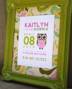 Custom Birth Print Announcement OWL Wall Art by TMCreativePrints