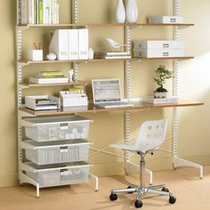 Coffee & White Elfa Freestanding Study