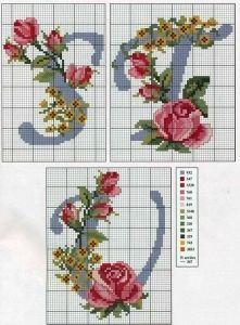 Alphabet with roses and yellow flowers - free cross stitch patterns crochet knitting amigurumi Cross Stitch Needles, Cross Stitch Rose, Cross Stitch Flowers, Cross Stitch Charts, Cross Stitch Alphabet Patterns, Cross Stitch Letters, Cross Stitch Designs, Cross Stitching, Cross Stitch Embroidery