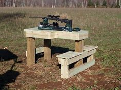 I built one of these: http://renovation-headquarters.com/plans-shooting-bench.html