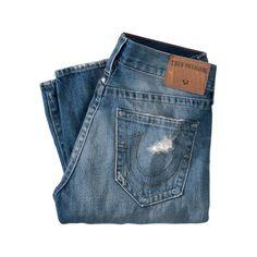 Jeans Rocco, rot unterlegt, Tapered, Destroyed-Look Rückansicht