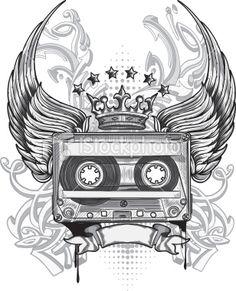 Audio tape emblem Royalty Free Stock Vector Art Illustration