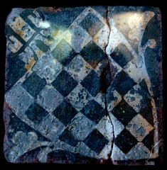 Medieval tile with the de Warenne family coat of arms at Glastonbury Abbey, England. Mosaic Tiles, Mosaics, Glastonbury Abbey, Bold Colors, Colours, Medieval World, Antique Tiles, Coat Of Arms, Archaeology