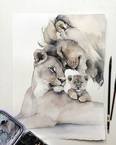 Baby drawing ideas life 16 new ideas Watercolor Paintings Of Animals, Lion Painting, Animal Paintings, Animal Drawings, Watercolor Art, Art Drawings, Lion Family, Arte Sketchbook, Baby Drawing