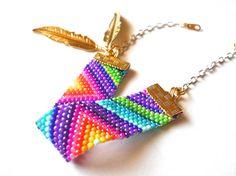 Colorful beadwork bracelet; Native American inspired Peyote stitch bead weaving; seed beads; triangle geometric jewelry; handmade bracelet